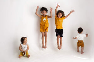 Monochrome minimalist mustard yellow kids leggings clothing cape town style simple