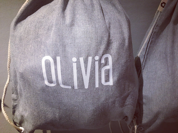 Cotton drawstring bag with shoulder straps (personalised)