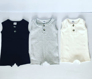Ribbed button rompers - Tiny Tribe Kids