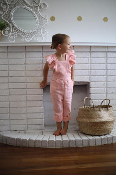 Flutter Overalls in Peach/Pink