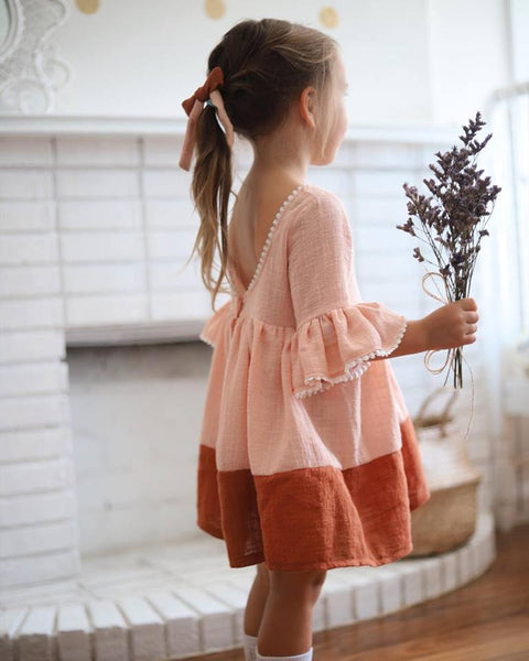 The Anouk Dress in Pink/Rust Splice