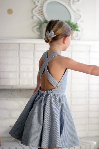 The Sunday Pinafore in denim pinstripe