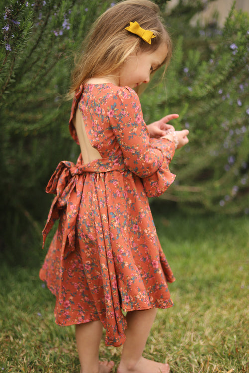 The Lola Dress in Rust Floral