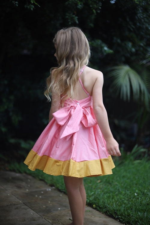 The Splice dress in pink & mustard