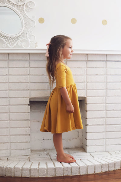 The Mustard Sleeved Bella Dress