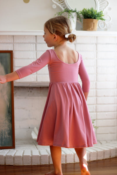 The Bella Dress in Dusty Mauve