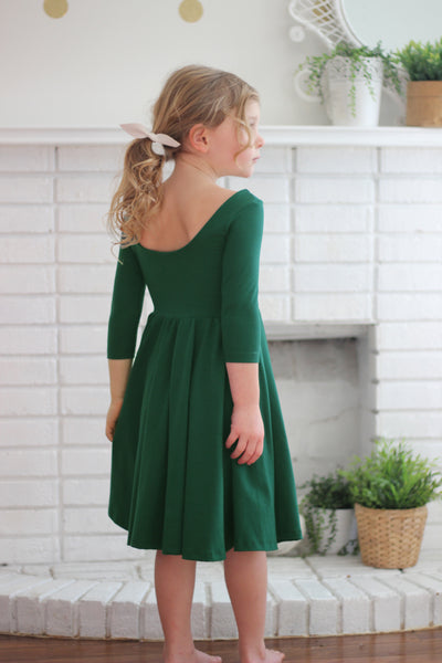 The Bella Dress in Forest Green