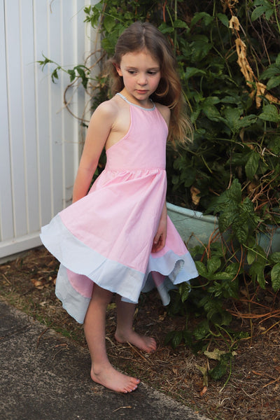 The Clara Dress in Pink and Pale Blue