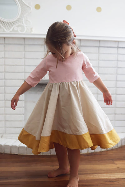 The Sleeved Clara Dress in Ballet Pink/Mustard