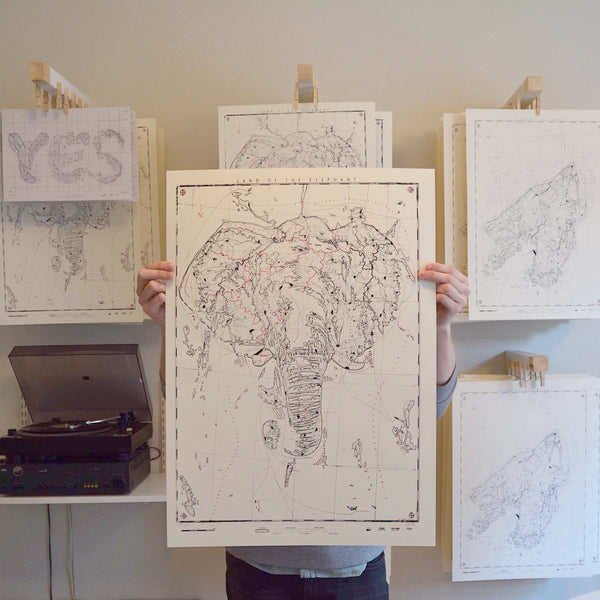 Elephantidae - Land of the Elephant - Silkscreen Print