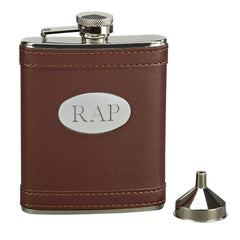 Personalized Faux Leather Brown Flask