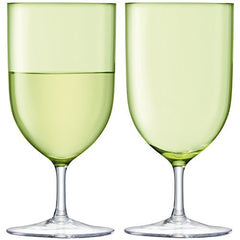 LSA International Pale Lime Hint Wine/Water Glasses, Set of 2