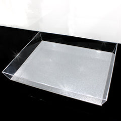 Waterdale Trapezoid Silver/Clear Glitter 11x14 Lucite Tray