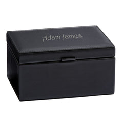 Personalized Black Genuine Leather Jewelry Box
