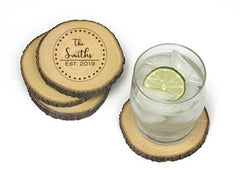 Personalized Lipper Acacia & Bark Trim Coasters Set of 4