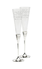 Personalized Wedgwood Vera Wang With Love Silver Toasting Flutes Set of 2