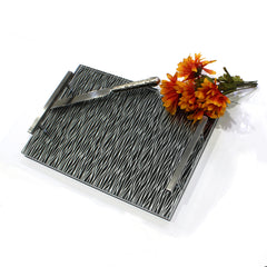 Waterdale Challah Board Silver Wave Black Backing - 11x16