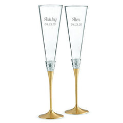 Personalized Wedgwood Vera Wang With Love Gold Toasting Flutes Set of 2