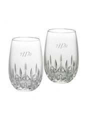 Personalized Waterford Lismore Nouveau Stemless White Wine Glasses Set of 2