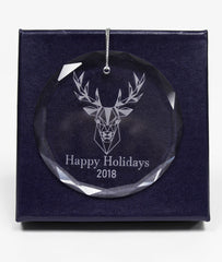 "Personalized 3"" Crystal Round Faceted Ornament"