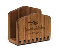 Personalized Lipper Acacia Adjustable Napkin Holder