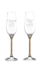 Personalized Swarovski Crystalline Golden Shadow Toasting Flutes Set of 2