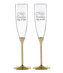 Personalized Kate Spade Simply Sparkling Gold Toasting Flutes Set of 2