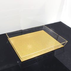 Waterdale Trapezoid Gold/Clear Glitter 11x14 Lucite Tray
