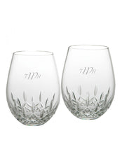 Personalized Waterford Lismore Nouveau Stemless Deep Red Wine Glasses Set of 2