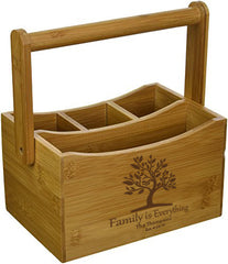 Personalized Lipper Bamboo Folding Handle Flatware Caddy