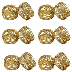Godinger Gold Round Mesh Napkin Rings Set Of 12 - Misc