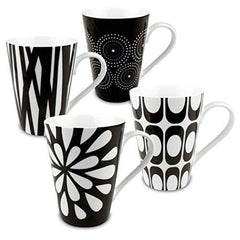 Konitz Assorted Mugs Black/white Set Of 4 - Misc