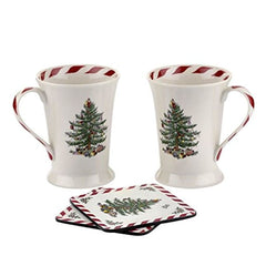 Pimpernel Christmas Tree Peppermint Mugs & Coasters Set Of 2 - Misc