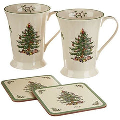 Spode Christmas Tree Mugs & Coasters Set Of 2 - Misc