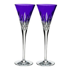Waterford Crystal Lismore Pops Purple Toasting Flutes Set Of 2 - Misc