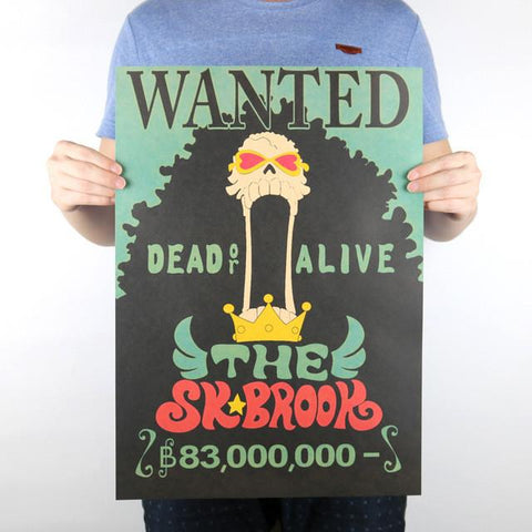 STICKERS MURAUX PAPIER VINTAGE ONE PIECE WANTED THE SK BROOK - LIVRAISON GRATUITE !