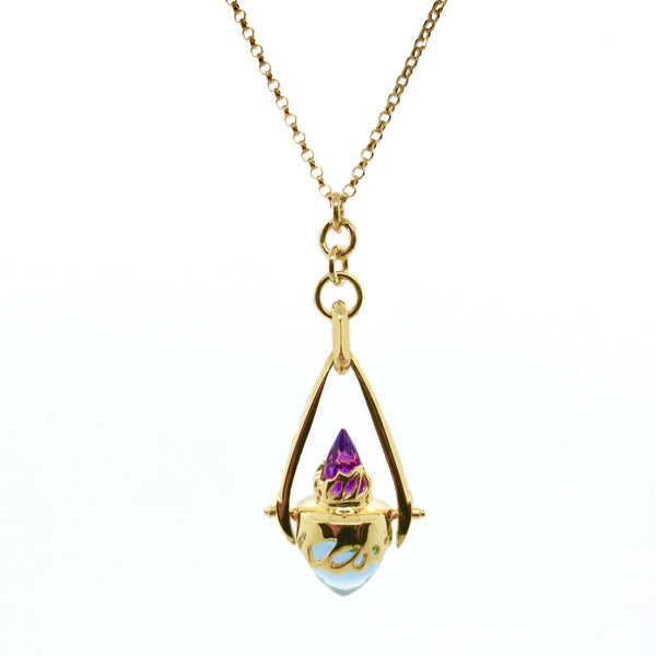 Beastiola pendulum with Blue Topaz and Violet Amethyst