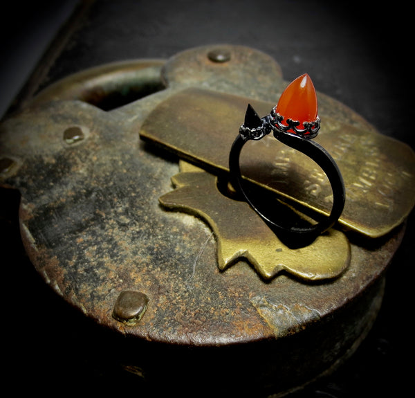 Double stone temple ring dressed in black