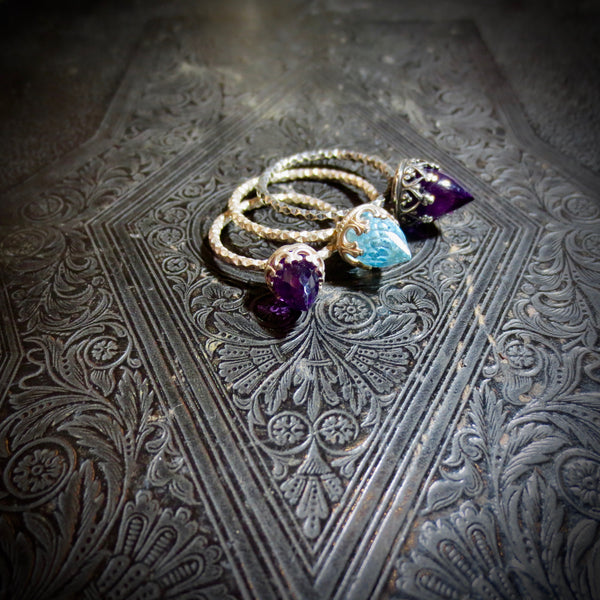 Blue topaz temple ring