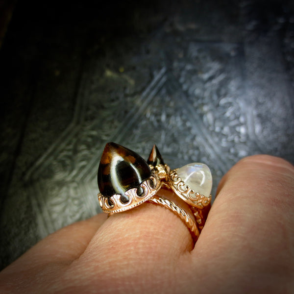 Large Smokey Quartz temple ring dressed in rose gold
