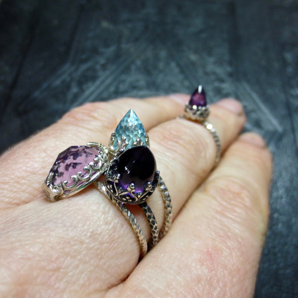 Amethyst and silver midi temple ring