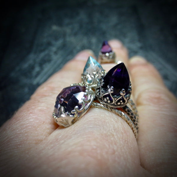 Amethyst and silver temple ring