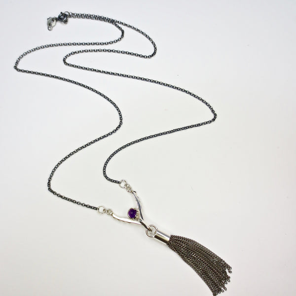 Amethyst tassel necklace.