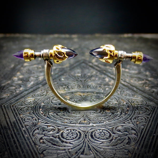 Iolite and Amethyst Spear ring
