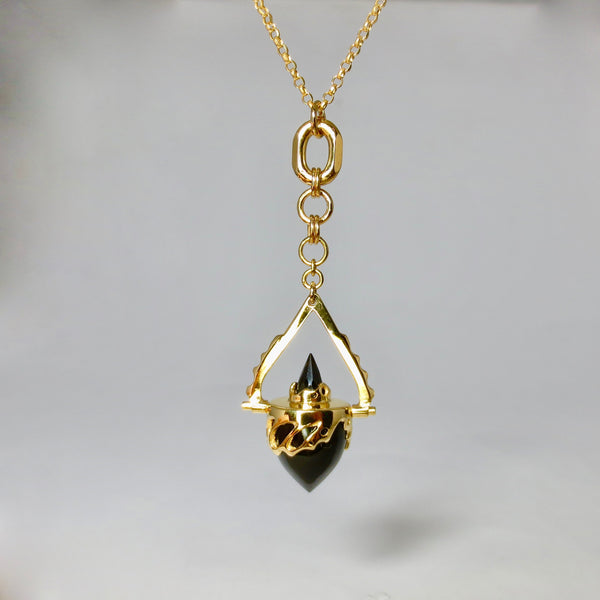 Gold Beastiola pendulum, with Black onyx and Spinnel