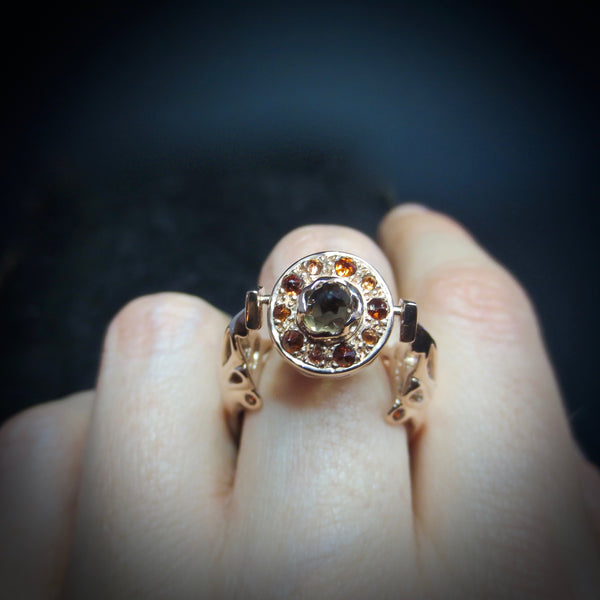 Smokey quartz and rose gold swivel ring