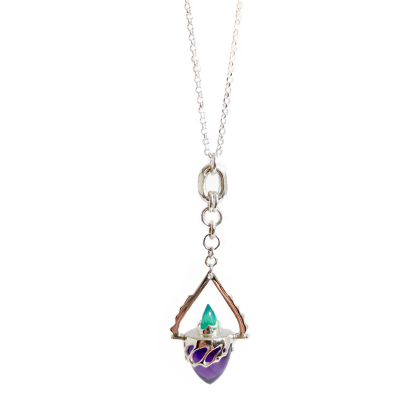 Beastiola pendulum in silver with  Amethyst and Green Agate.