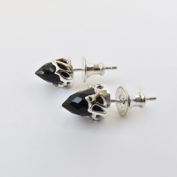 Silver Chrysalis studs with black Onyx bullets.