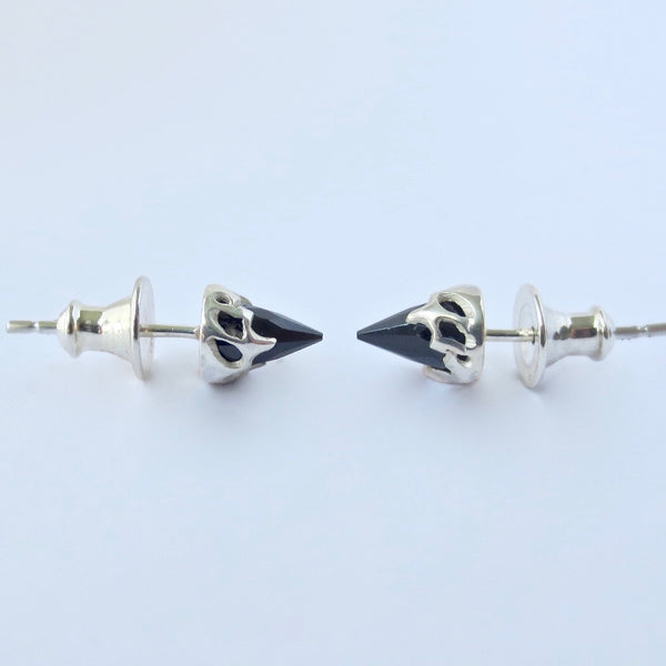 Silver Chrysalis studs with black Spinel bullets.