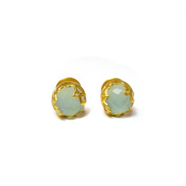 Gold plated studs with Chalcedony stone